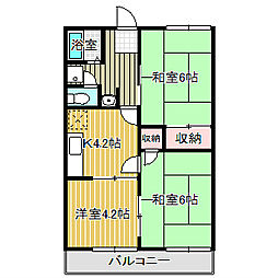 愛知県名古屋市中川区戸田西3丁目の賃貸アパートの間取り