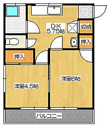 第一六反荘[201号室]の間取り