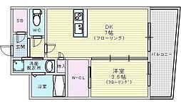 Osaka Metro御堂筋線 江坂駅 徒歩7分の賃貸マンション 8階1DKの間取り