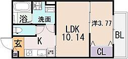 大阪府東大阪市若江本町3丁目の賃貸アパートの間取り