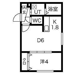 札幌市営東西線 バスセンター前駅 徒歩1分の賃貸マンション 2階1DKの間取り