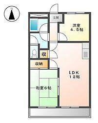 愛知県名古屋市緑区大形山の賃貸アパートの間取り