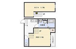 大阪府大阪市平野区平野西1丁目の賃貸アパートの間取り