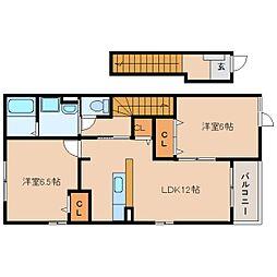 静岡県静岡市駿河区向敷地の賃貸アパートの間取り