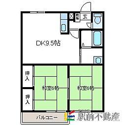 コーポ三奈木[1階]の間取り