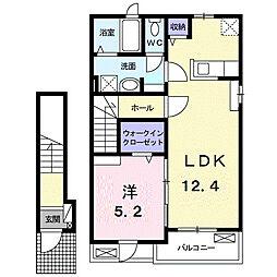 ル リアン A 2階1LDKの間取り