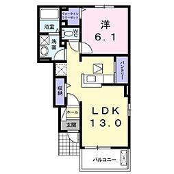 しなの鉄道 御代田駅 徒歩27分の賃貸アパート 1階1LDKの間取り