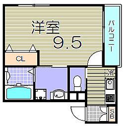 大阪府大阪市福島区大開2丁目の賃貸アパートの間取り