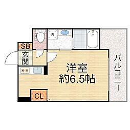 ララプレイス ザ・京橋ステラ 6階1Kの間取り