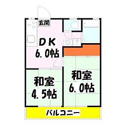 ハイツ吉岡 たんぽぽ館[201号室]の間取り