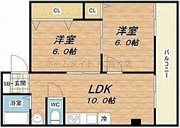 ニューライフ赤坂[6階]の間取り
