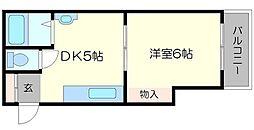 ニュー豊里マンション 2階1DKの間取り