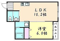ルポゼ鶴橋[2階]の間取り