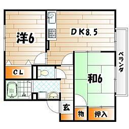 ウィステリア中吉田II B棟[2階]の間取り