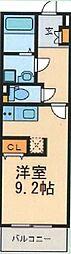 ルシエル東海通サウス 3階ワンルームの間取り