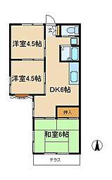 千葉県松戸市横須賀1丁目の賃貸アパートの間取り