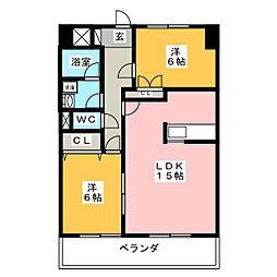 ARRIVE'E 東古松[3階]の間取り