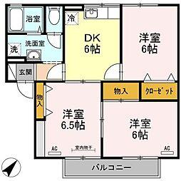 香川県高松市鬼無町是竹の賃貸アパートの間取り