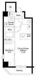 JR山手線 御徒町駅 徒歩9分の賃貸マンション 9階1LDKの間取り