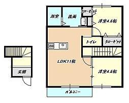 福岡県北九州市小倉北区赤坂2丁目の賃貸アパートの間取り