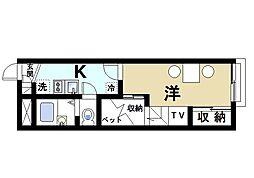 近鉄京都線 山田川駅 徒歩4分の賃貸アパート 2階1Kの間取り