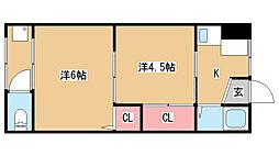 兵庫県神戸市長田区平和台町3丁目の賃貸マンションの間取り