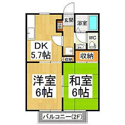 長野県塩尻市大字広丘高出の賃貸アパートの間取り