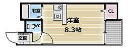 大阪府東大阪市長栄寺の賃貸マンションの間取り