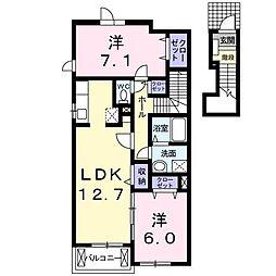 静岡県富士市米之宮町の賃貸アパートの間取り