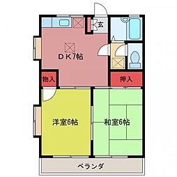埼玉県坂戸市浅羽野2丁目の賃貸アパートの間取り
