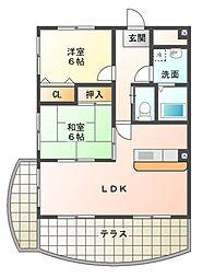 滋賀県東近江市八日市上之町の賃貸マンションの間取り