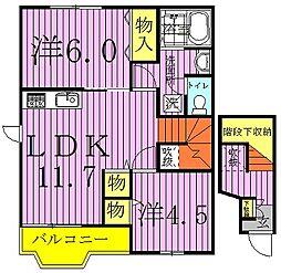 クレストイイダA・B[2階]の間取り