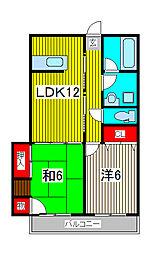 フクロクハイマンション3号館[6階]の間取り