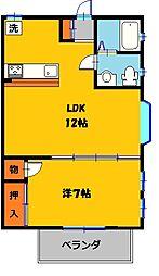 栃木県宇都宮市不動前2丁目の賃貸アパートの間取り