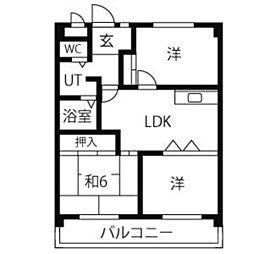 西里パークマンション[302号室]の間取り