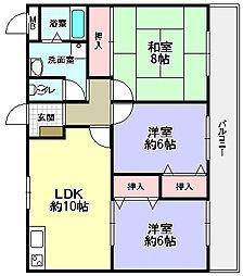 ハーモニーヒルズ藤阪[3階]の間取り