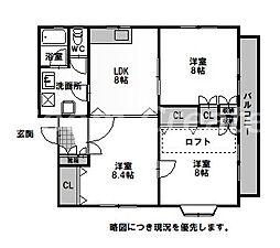 徳島県徳島市津田本町3丁目の賃貸マンションの間取り