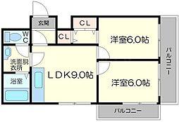 ローズコーポ新大阪6[10階]の間取り