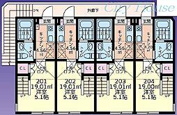 キュステ(町田) 2階1Kの間取り