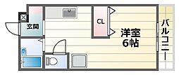 マインハイム 1階1DKの間取り