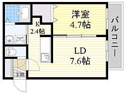 JR函館本線 手稲駅 徒歩7分の賃貸マンション 3階1LDKの間取り