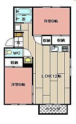 Rin−Aiアパート[101号室]の間取り