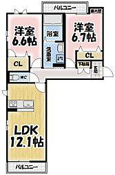 シャーメゾンTSUJI[205号室号室]の間取り