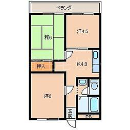 和歌山県橋本市古佐田3丁目の賃貸マンションの間取り