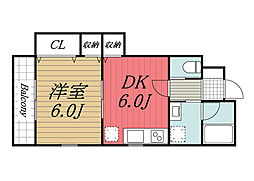 JR総武本線 八街駅 徒歩3分の賃貸アパート 1階1DKの間取り