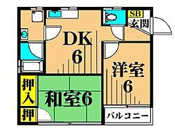 プライムコート 3階2DKの間取り