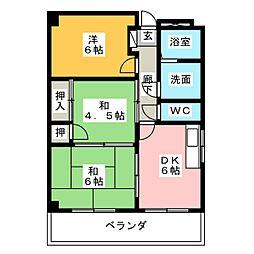 プライム八田[6階]の間取り