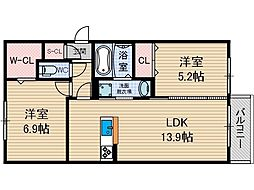 D-room沢良宜西[1階]の間取り