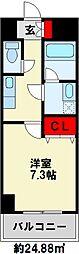 U.BASIC REEF三萩野 4階1Kの間取り