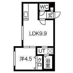 札幌市営東西線 西11丁目駅 徒歩12分の賃貸マンション 1階1LDKの間取り